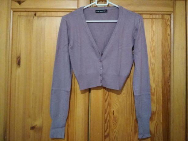 Krótki sweterek z długimi rękawami odcień fioletu S