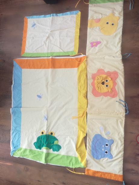 Pościel dziecięca 3 el. kolorowa polska bawełna w zwierzątka z safari