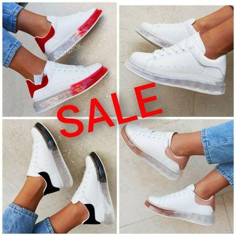 Белые кроссовки на прозрачной подошве кеды ботинки под McQueen маквины