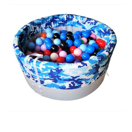 Suchy basen z kulkami 200 szt - niebieskie moro