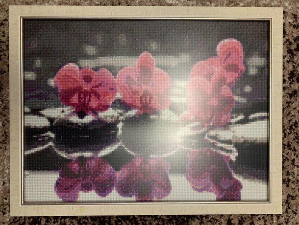 Готовая картина в технике алмазная вышивка «Орхидеи»
