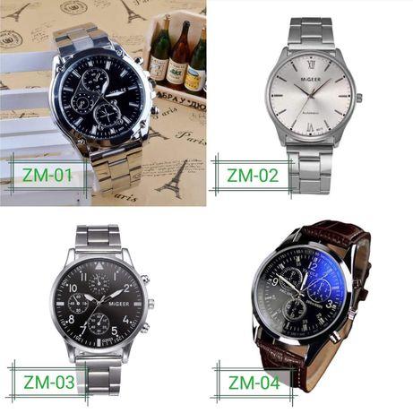 Zegarek na srebrnej bransolecie /brązowym pasku męski