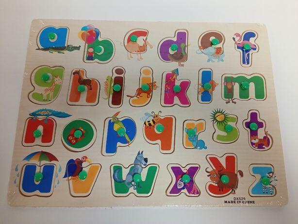 alfabet drewniane puzzle edukacyjne z pinezką
