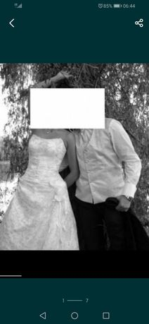 Suknia ślubna + kamizelka + musznik
