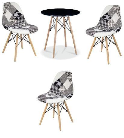 Zestaw stół okrągły i 3 krzesła patchwork Simon B