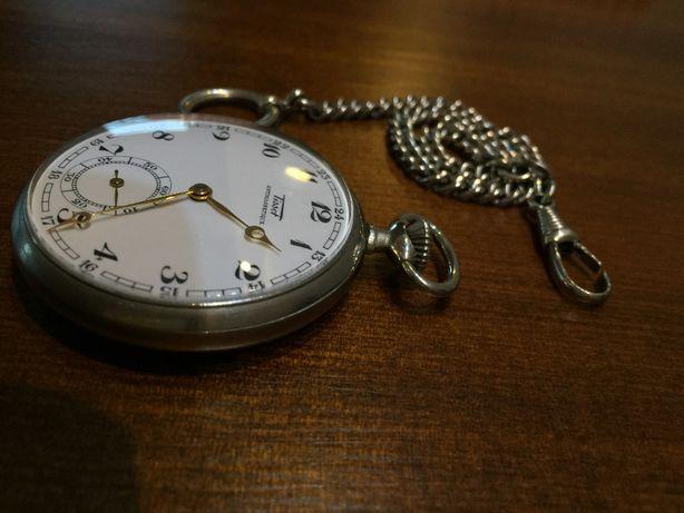 Zegarek kieszonkowy Tissot na łańcuszku stan idealny