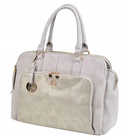 Kuferek torebka Lulu szara/perłowa a4 3 komory