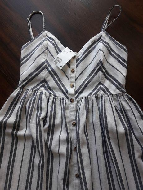 Sukienka lniana na lato H&M 38