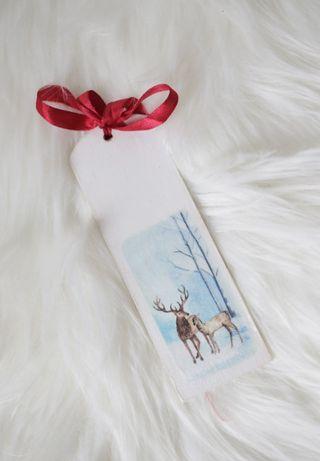 Zakładka do książki Zima prezent święta folk zwierzęta decoupage