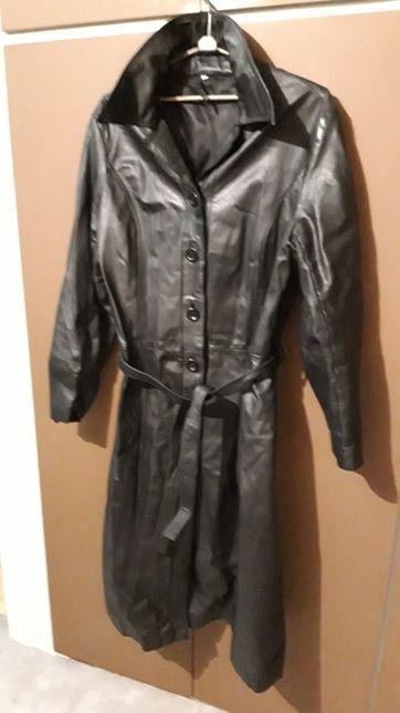 Płaszcz skórzany damski czarny