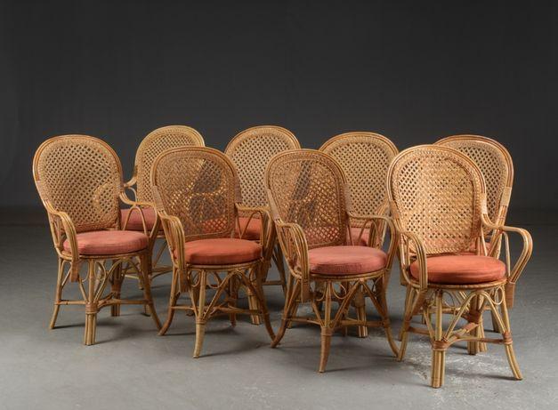 *Komplet rattanowych krzeseł z poduszkami, 4 sztuki*transport