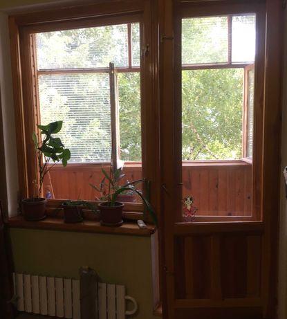 Балкон весь, балконный блок, рама, подоконники, вагонка, все дерево
