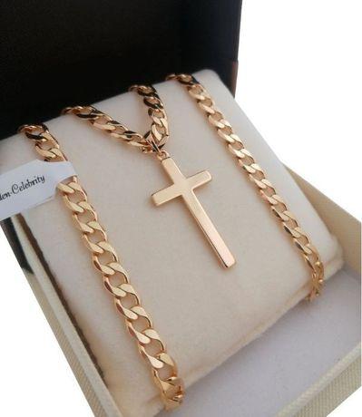 Złoty łańcuszek pancerka 55cm 5,5mm + krzyż 18K GWARANCJA PREZENT
