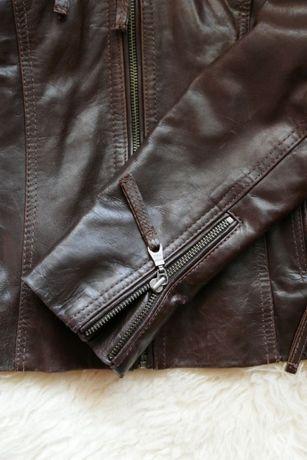 kurtka skorzana, ramoneska, rozmiar 36, czekoladowy brąz