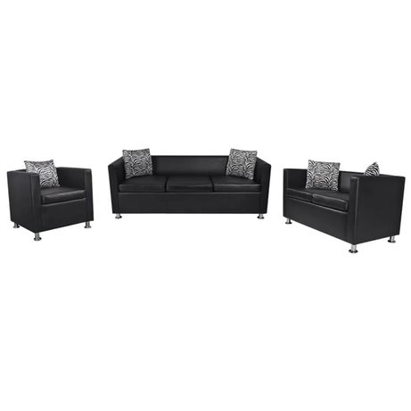 vidaXL Conjunto sofás de 2 e 3 lugares + poltrona couro artific. preto 272179