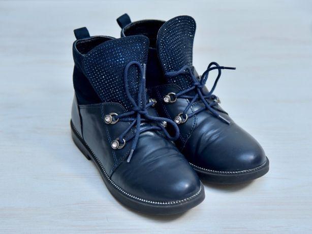 Ботинки детские демисезонные кожаные девочка размер 34 стелька 21,5 см