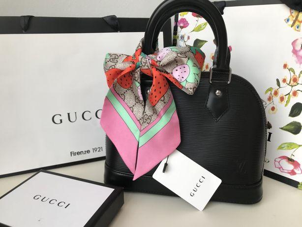Gucci cienka apaszka do torebki wlosów jedwab pudelko premium prezent