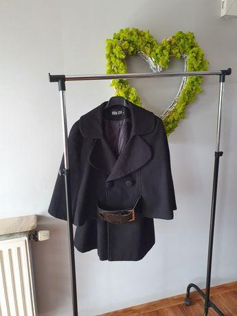 Czarny wiosenny elegancki płaszczyk r. L/Xl