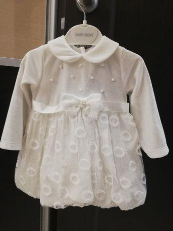 Белое нарядное платье / платьице с длинным рукавом на 3-6 мес