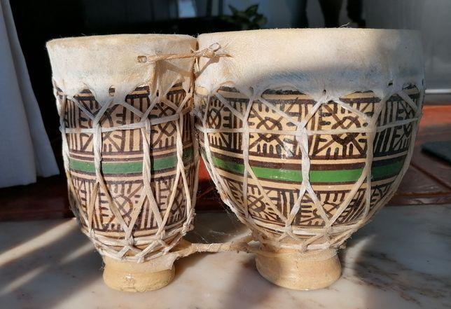 Djambé duplo, 18cm altura, em cerâmica