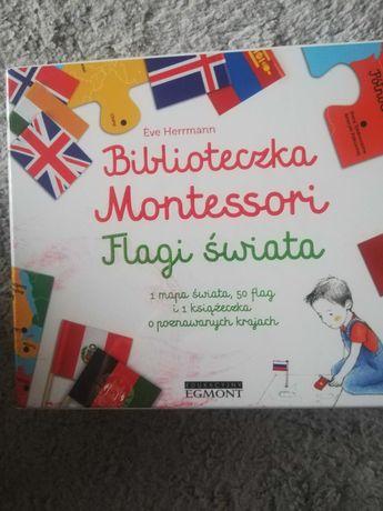 Biblioteczka Montessori Flagi Świata puzzle plus flagi