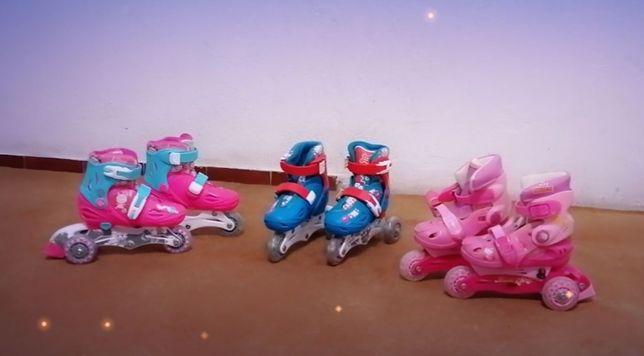 Patins em linha com rodas ao lado, cor azul-10€/cor rosa-10€/cor A-R7€