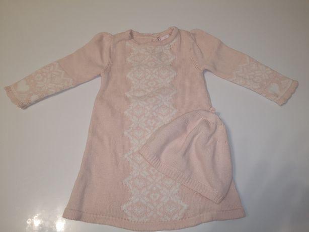 Sukienka komplet czapeczka 3 6 miesięcy 68 cudna