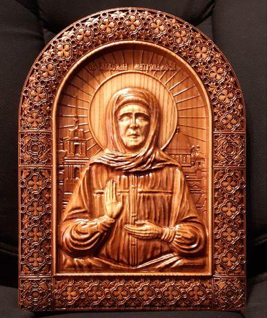 Резная деревянная икона Блаженная Матрона Московская
