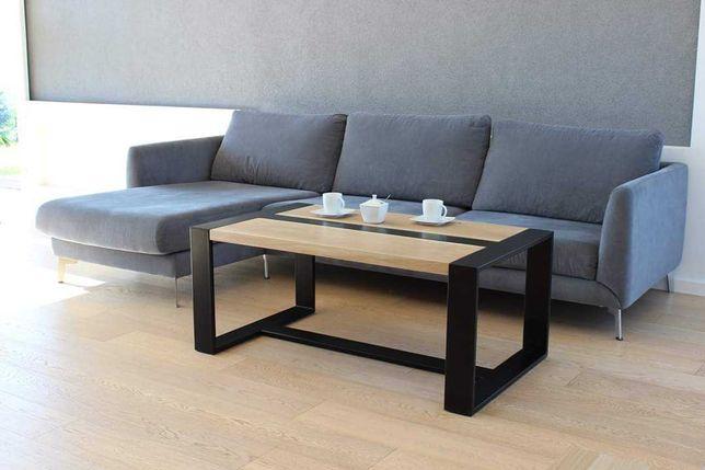 Stolik ława kawowa. Lite drewno. Rama malowana proszkowo.