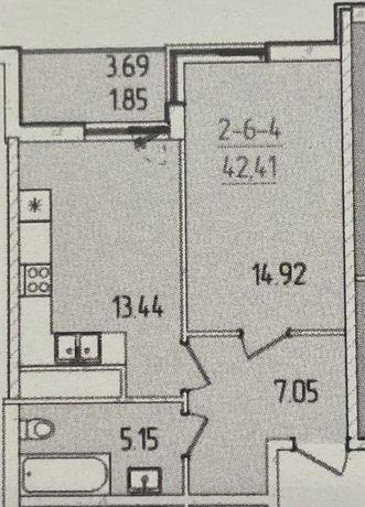 1 комнатная в 63 жемчужине