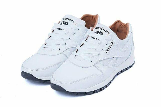 Натуральная кожа! Мужские кожаные кроссовки белые Reebok