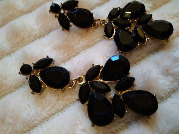 Czarne złote kolczyki, eleganckie