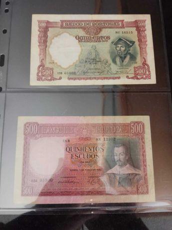 Notas escudos  1000$ 500$ e outras