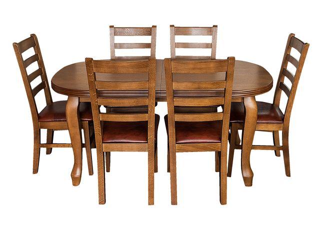 Zestaw mebli: Stół Ludwik + 6 Krzeseł Cortez Skóra Naturalna