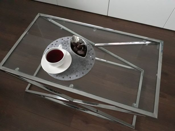 Stolik kawowy szklany chromowana stal szkło 90x50 GLAMOUR ława