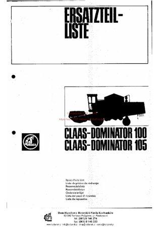 Katalog części kombajn claas Dominator 100-105