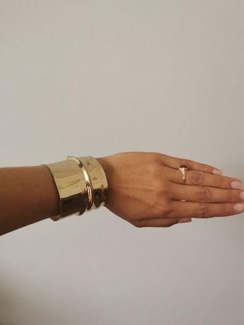 Bransoletka złota obręcz h&m szeroka metalowa