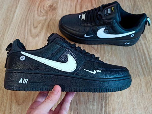 Кожа Черные Nike Air Force 1 07 LV8 low мужские кроссовки 42 43 44 45