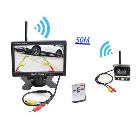 """camera marcha atrás wireless sem fios monitor LCD de 7 """" 12v 24v"""