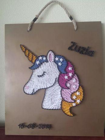 Obraz ~ JEDNOROŻEC ~ 40X35 String Art 3D / dekoracja drewno koń konik