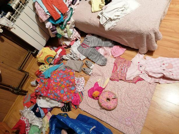 Ubranka dla dziewczynki 6-12 miesięcy stan bdb i db