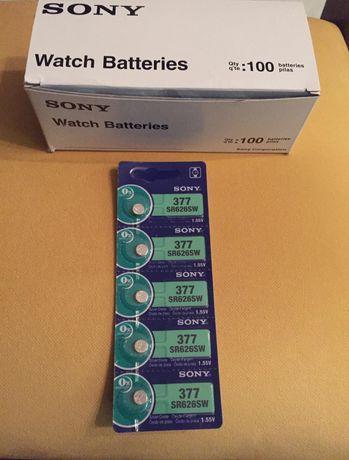 Pilhas Sony ref. 377 / SR626SW para relógios.
