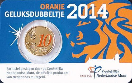 Moeda 10 cêntimos colorida Oficial da Holanda 2014