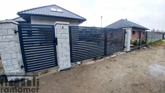Brama skrzydłowa palisada - producent - montaż ogrodzeń