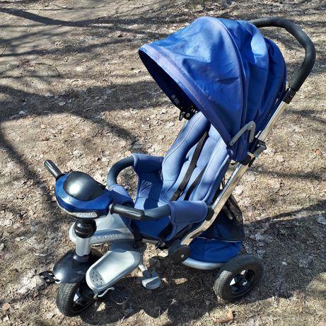 Трехколесный Велосипед - коляска  Trike Azimut Crosser T-350 синий