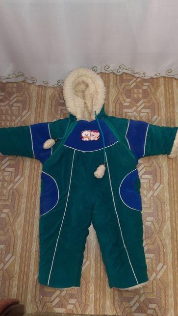 Зимний теплый детский комбинезон для мальчика девочки