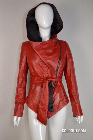 Стильная кожаная куртка с поясом