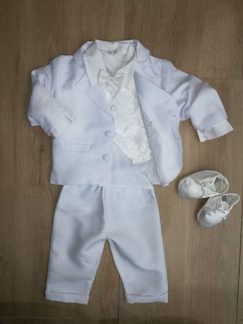 Zestaw na chrzest dla chłopca garnitur, kamizelka, buty, koszule 68cm