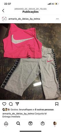 Conjunto M rosa e cinza