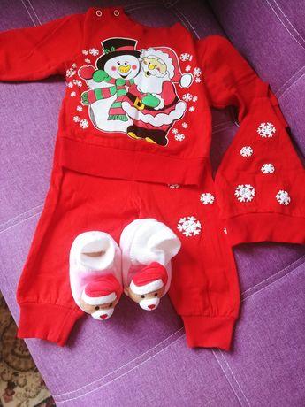 Новогодний костюм и пинетки мальчику девочке 68 74